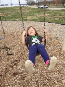 Swing Techniques: a Little Girl Swings on Her Own